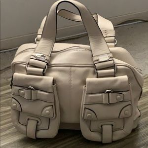 Cromia Cream Italian Leather Satchel with Pockets, used for sale